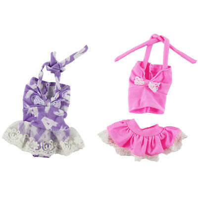 4 x 14.5inch Dolls Clothes Printed Strap Swimsuit Swimwear