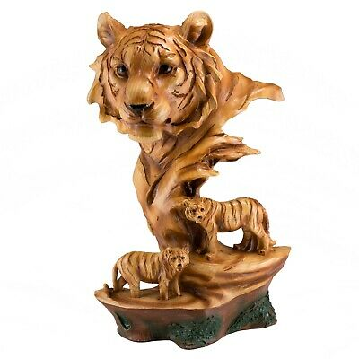 """Tiger Head Bust Faux Carved Wood Look Figurine 11.75"""" High Resin Statue New"""