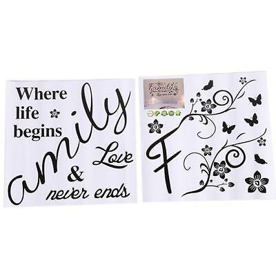 Family Where Life Begins Photo Frame Art Wall Quote Stickers Wall Decals W