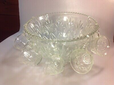 Vintage Cut Crystal / Clear Glass Punch Bowl W/ 8 Matching Glasses