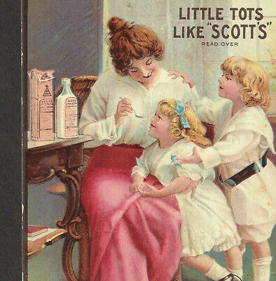 Little Tots Like Scotts Emulsion Cod Liver Oil Bottle Spoon Victorian Trade Card
