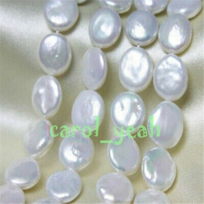 """15-16mm natural white coin pearl 15"""" Charm Party Mesmerizing Cultured Gift Chain"""