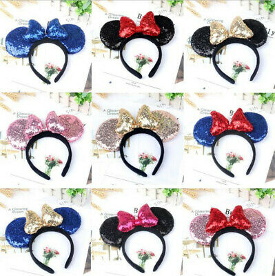 Girls Sequins Bow Mickey Mouse Minnie Mouse Hairband Part Dress up Costume