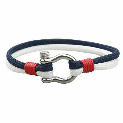 Fashion Stainless Steel U Shaped Buckle Paracord Rope Sailing Men's Bracelet