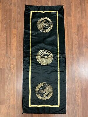 Antique Chinese Asian Black Silk textile w metal gold Dragon & Bird embroidery