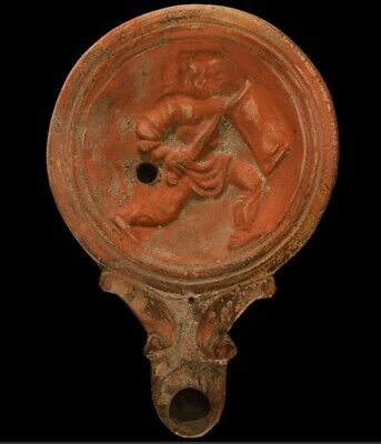 Rare Ancient Roman Soldier Terracotta Oil Lamp Pictorial Scene 1st Century