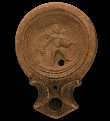 Rare Ancient Roman Cupid Terracotta Oil Lamp Pictorial Scene 1st Century