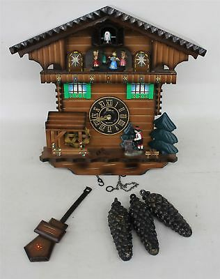 FAULTY THE TIME CO. Cabin Cuckoo Clock Moving Wood Chopper & Mill Wheel & Music