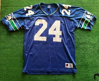 2a069a406 VTG Shawn Springs Rookie Champion Jersey 90s #24 Seattle Seahawks Blue Size  48
