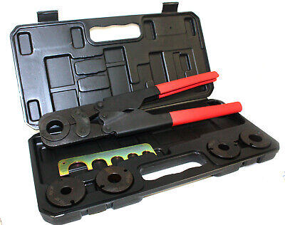 "5 in 1 Pex Crimper Kit 3/8"" 1/2"" 5/8"" 3/4"" 1"" Crimping Plumbing Copper Ring Tool"