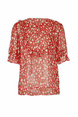 0c2bf69a55f The Kooples Red Women's Small S (1) Sheer Floral Print Ruffle Blouse $250-