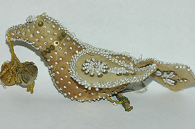Antique Mohawk Reserve Falls Woodland Indian Whimsey form beaded bird