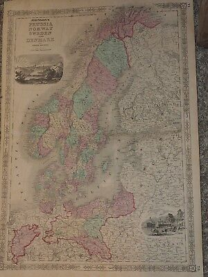 "1863 Johnson's PRUSSIA NORWAY SWEDEN and DENMARK Hand Colored 18"" x 26"""