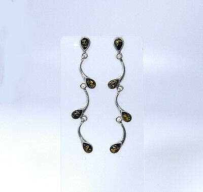 Fancy Genuine BALTIC AMBER Sterling Silver Long Dangle Stud Earrings NIB # AE41