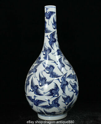 "19.6"" Marked Old China Ming Blue White Porcelain Dynasty Crane Birds Bottle Vase"