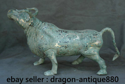 "15.6"" Old China Bronze Ware Silver Dynasty Strong Animal Bull Oxen Cattle Statue"