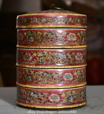 """7.6"""" Yongzheng Marked Old China Famille Rose Porcelain 4 layer jewelry Box Case"""