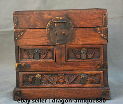 """12"""" Old Chinese Huanghuali Wood Dynasty Handle Bat Peach 3 Drawer Jewelry Box"""