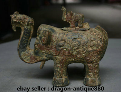"""7.2"""" Old Chinese Bronze Ware Dynasty Palace Elephant Zun Drinking Vessel"""