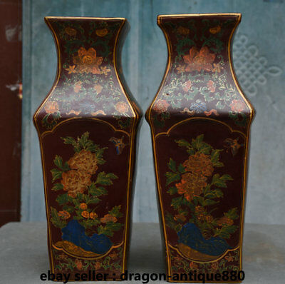 "14"" Rare Old Chinese Royal Palace lacquerware Peony Flower Pot Bottle Vase Pair"