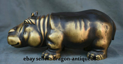 "11.6"" Old Chinese Copper Feng Shui Aniaml rhinoceros Oxen Bull Cattle Sculpture"