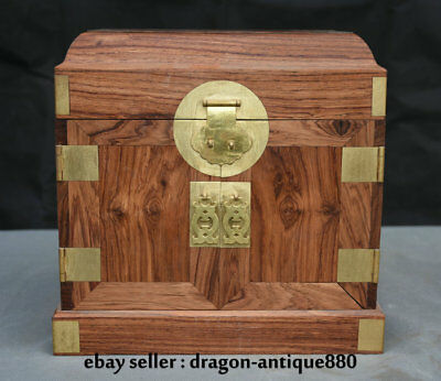 "10"" Collect Chinese 100% Huanghuali Wood Carving Ghost Eyes Drawer Jewelry Box"