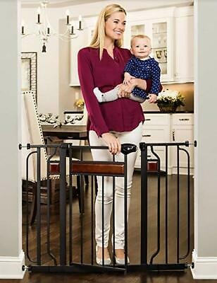 Regalo Home Accents Extra Wide Walk Thru Baby Gate, Includes Décor Hardwood