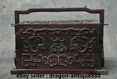 "13"" Rare Old Chinese Redwood Carving Dynasty Beast Portable Food Dim Sum Box"