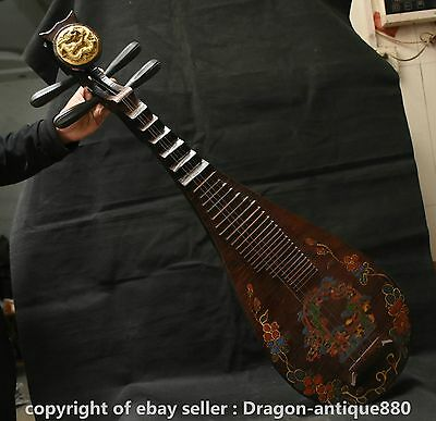 """16"""" Old Chinese Wood lacquerware GitlAntiquity Pipa musical instrument Dragon"""
