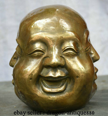 "8.4"" Old Chinese Buddhism Copper Bronze Four Side Maitreya Buddha Head Statue"