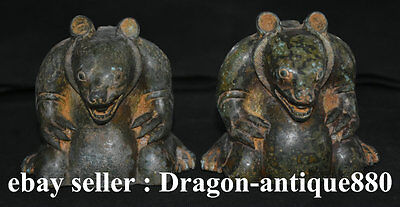 """4"""" Chinese Old Antique Bronze Lovely squirrel Animal Decor Statue Sculpture"""