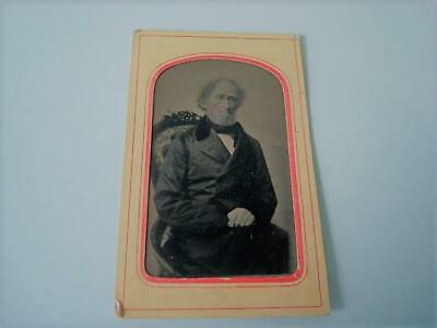 Antique Tintype Photograph Elderly Gentleman Tinted Cheeks