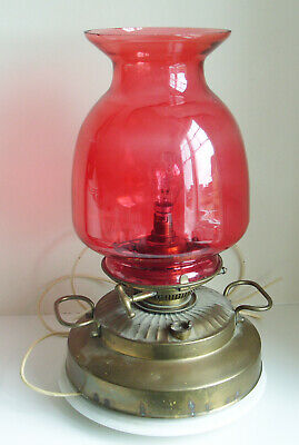 Large Vintage Brass Oil Lamp with Cranberry Glass Shade - Trademark LUX WAY