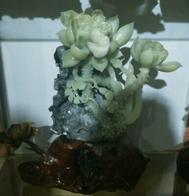 Unique Natural Green Jade Pure Hand Carving Stereoscopic Lotus Flower Sculpture