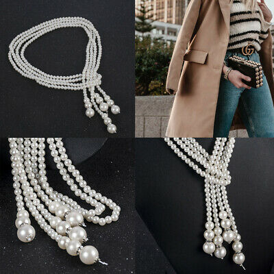 Women Long Chain Rope Bead Faux Pearl Beaded White Drop Pearl Necklace Gift