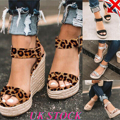 Womens Wedge Sandals Espadrilles Ladies Platform High Heels Slingback Shoes Size