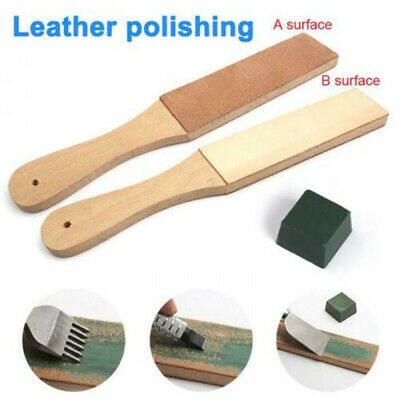 1PC Dual Sided Leather Blade Strop Tool Razor Sharpener Polishing Compounds Tool