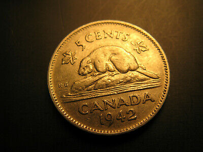 Canada 1942 5 Cent Nickel Coin IDJ303.