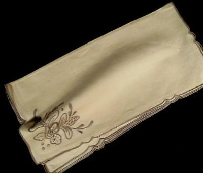 "6 Vintage Off White Linen 13"" Luncheon,Cocktail Napkins W/Taupe Hand Emb, Nos"