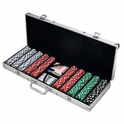 Poker Chip Set for Texas Holdem, Blackjack, Gambling with Carrying Case, Cards,