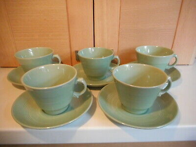 Vintage Woods Ware Beryl Ware 5 Green Pottery Cups And Saucers