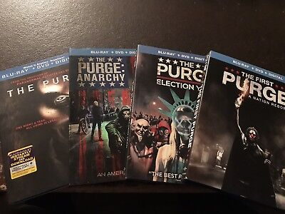 8-Disc BluRay/DVD - The Purge: 4-Movie Collection (*NO Digital*) MINT Slipcovers