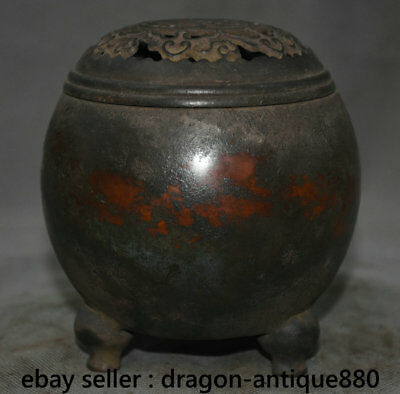 """5.2"""" Marked Old Chinese Red Copper Dynasty Palace Lid Incense Burner Censer"""