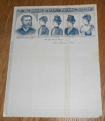 1889 Antique Medical Letter Spanish System of Physical Culture San Francisco CA