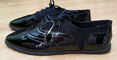 Womens Black or Burgundy Patent Brogue Lace Up Shoes Leather Insole Suede Effect