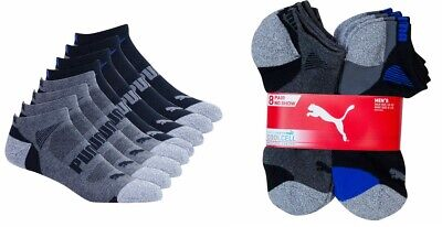 Puma Men's No Show Socks, 8-pair Black Gray Shoe Size 6-12 Sport Cushion Support