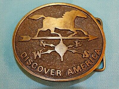 Vntg Adezy Solid Brass Belt Buckle Discover America Horse Weather-Vane