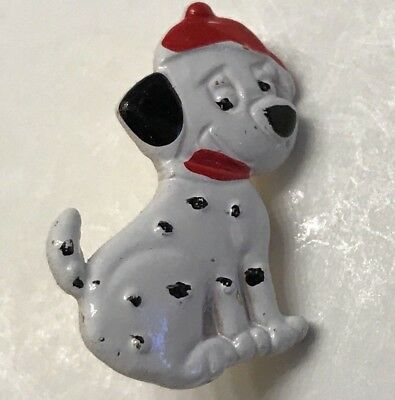 Adorable Colorful Metal HP DALMATION DOG Realistic Button w FIREMAN HAT 7/8""
