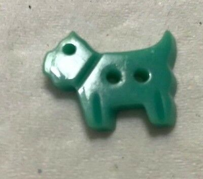 Rare Vintage Green/Blue Color SCOTTIE  SCOTTY DOG  Realistic Button 3/4""