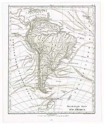 Antique Print Vintage 1851 Engraving Map Cartography Physical Map South America